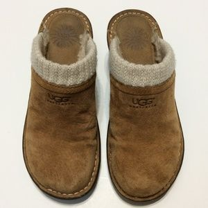 UGG Brown Gael Wedge Clogs